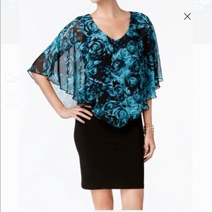 Women's Chiffon Cape Overlay Sheath Dress